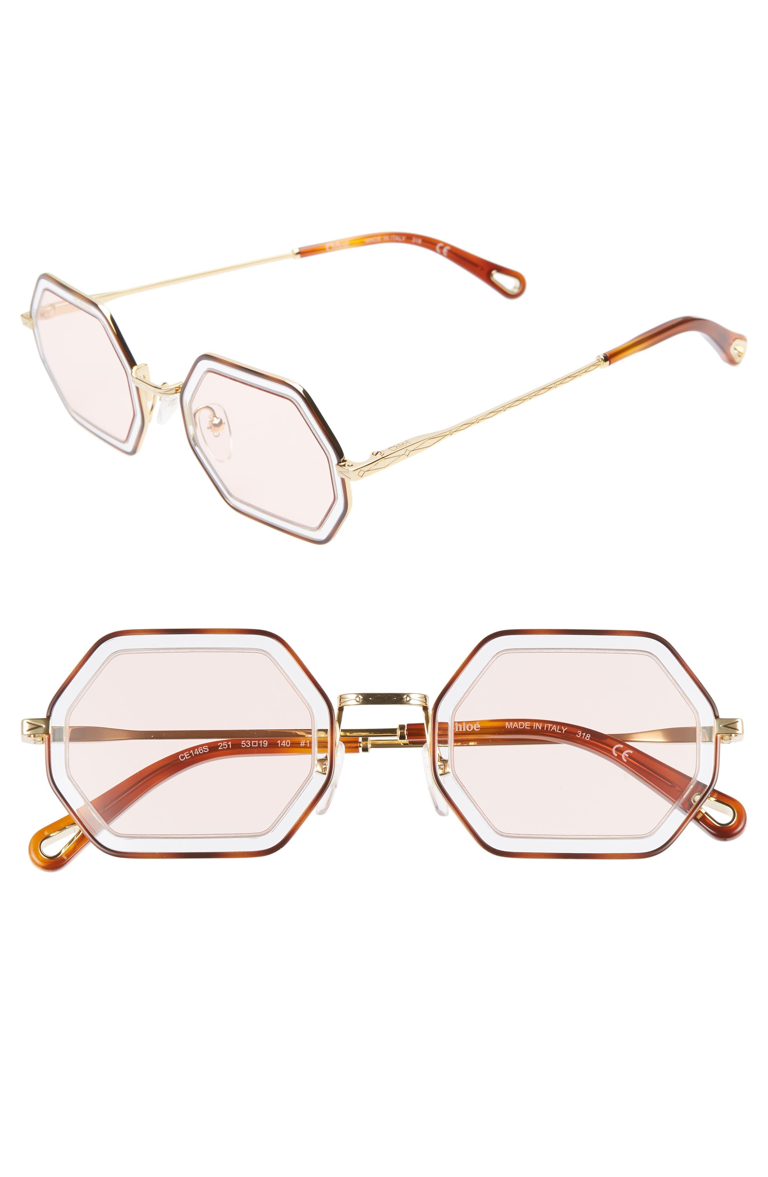 Chloe Tally 5m Octagon Sunglasses - Havana/ Azure/ Pink