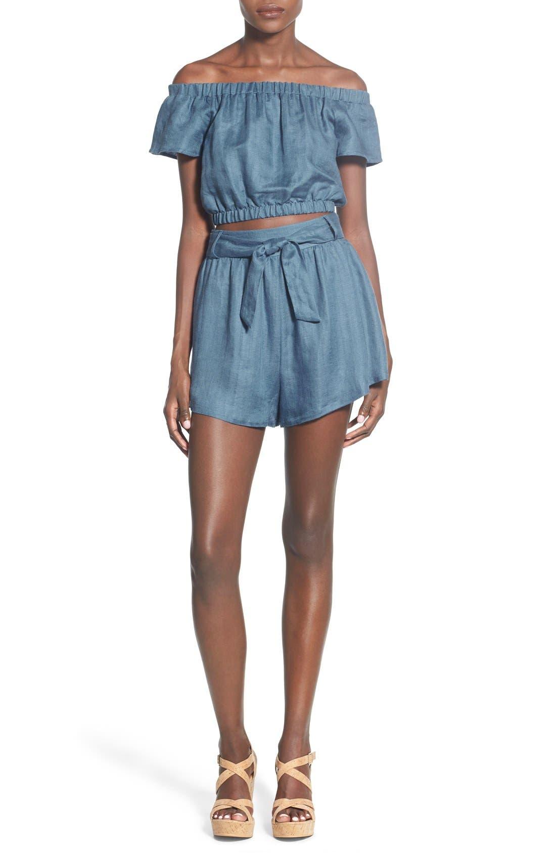 ,                             Tie Waist Linen Blend Shorts,                             Alternate thumbnail 4, color,                             400