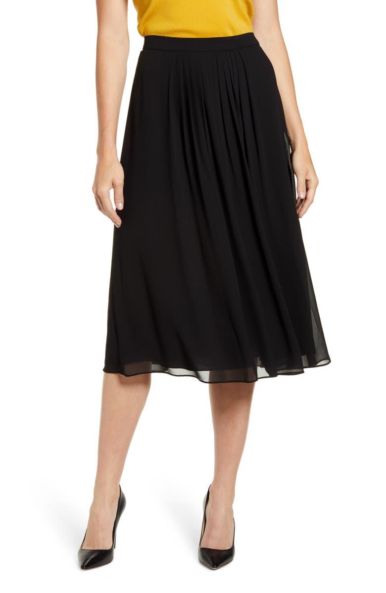 ANNE KLEIN Pleated A-Line Skirt, Main, color, ANNE BLACK