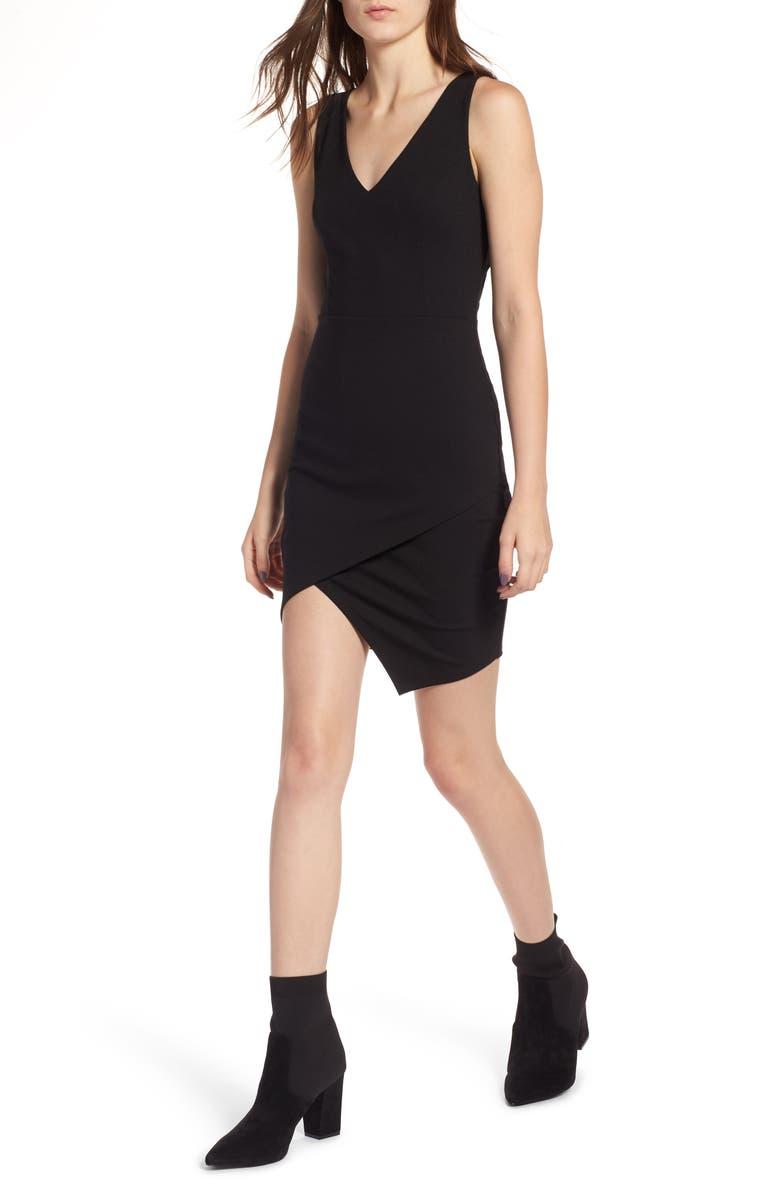 SOPRANO Asymmetrical Body-Con Dress, Main, color, 001