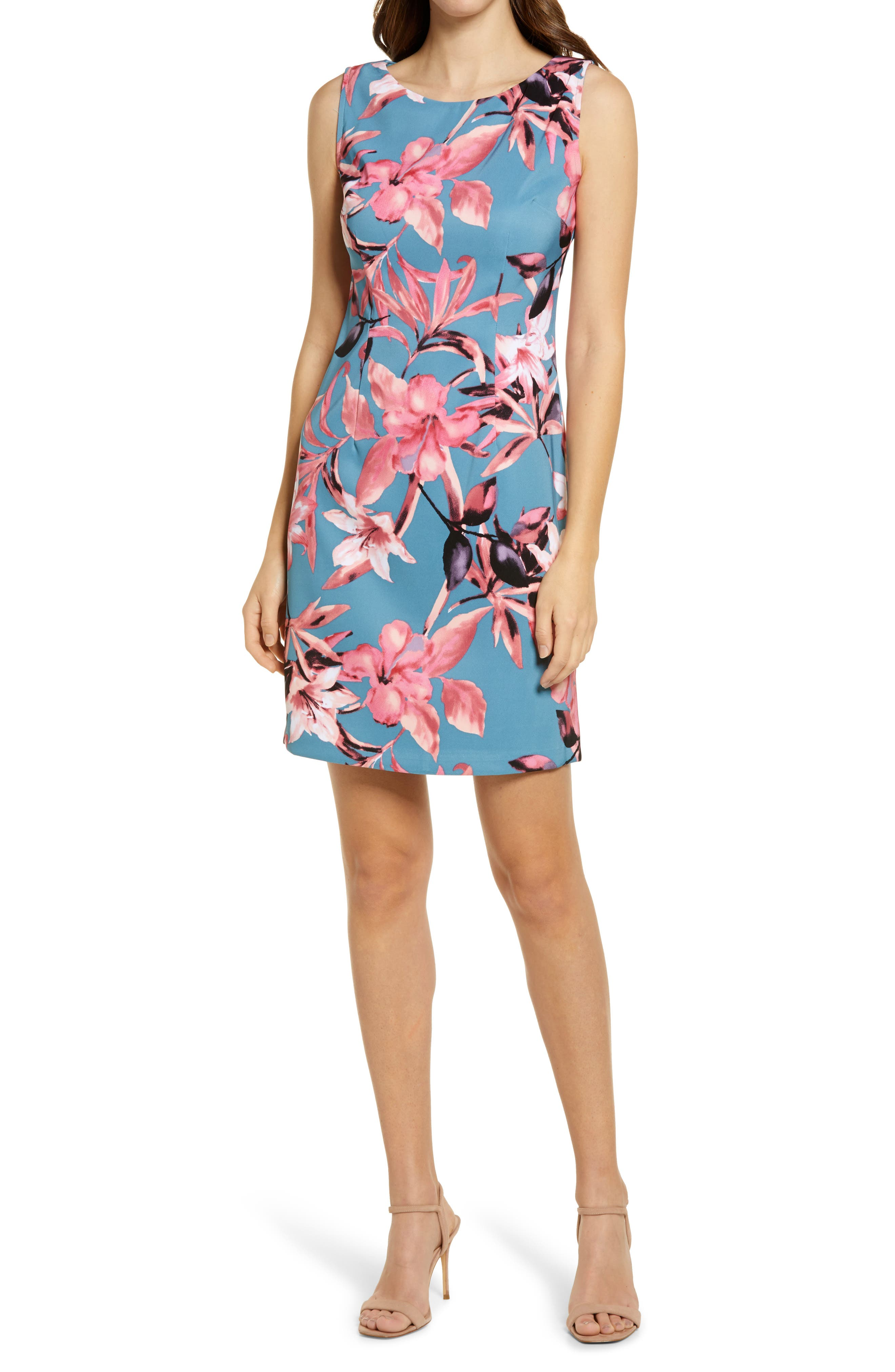 Floral Sleeveless Sheath Dress