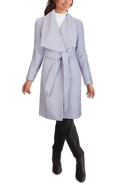 Image of COLE HAAN SIGNATURE Slick Wool Blend Wrap Coat