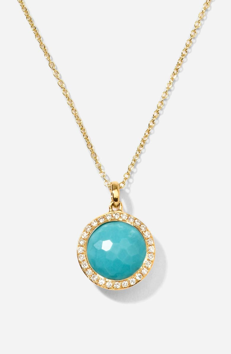 IPPOLITA 'Rock Candy - Mini Lollipop' Pendant Necklace, Main, color, YELLOW GOLD/ TURQUOISE