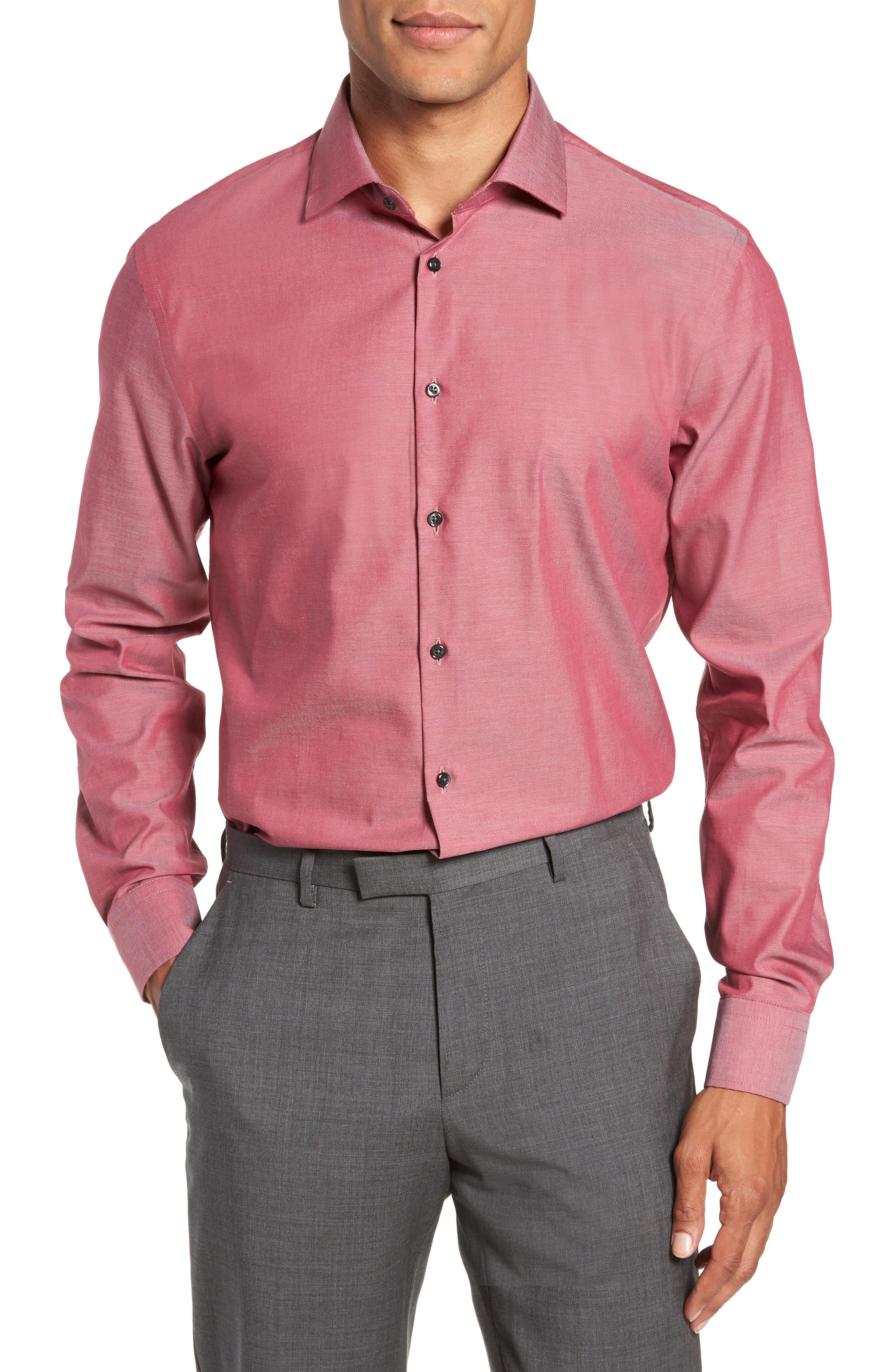 ,                             Extra Trim Fit Non-Iron Solid Dress Shirt,                             Main thumbnail 37, color,                             601
