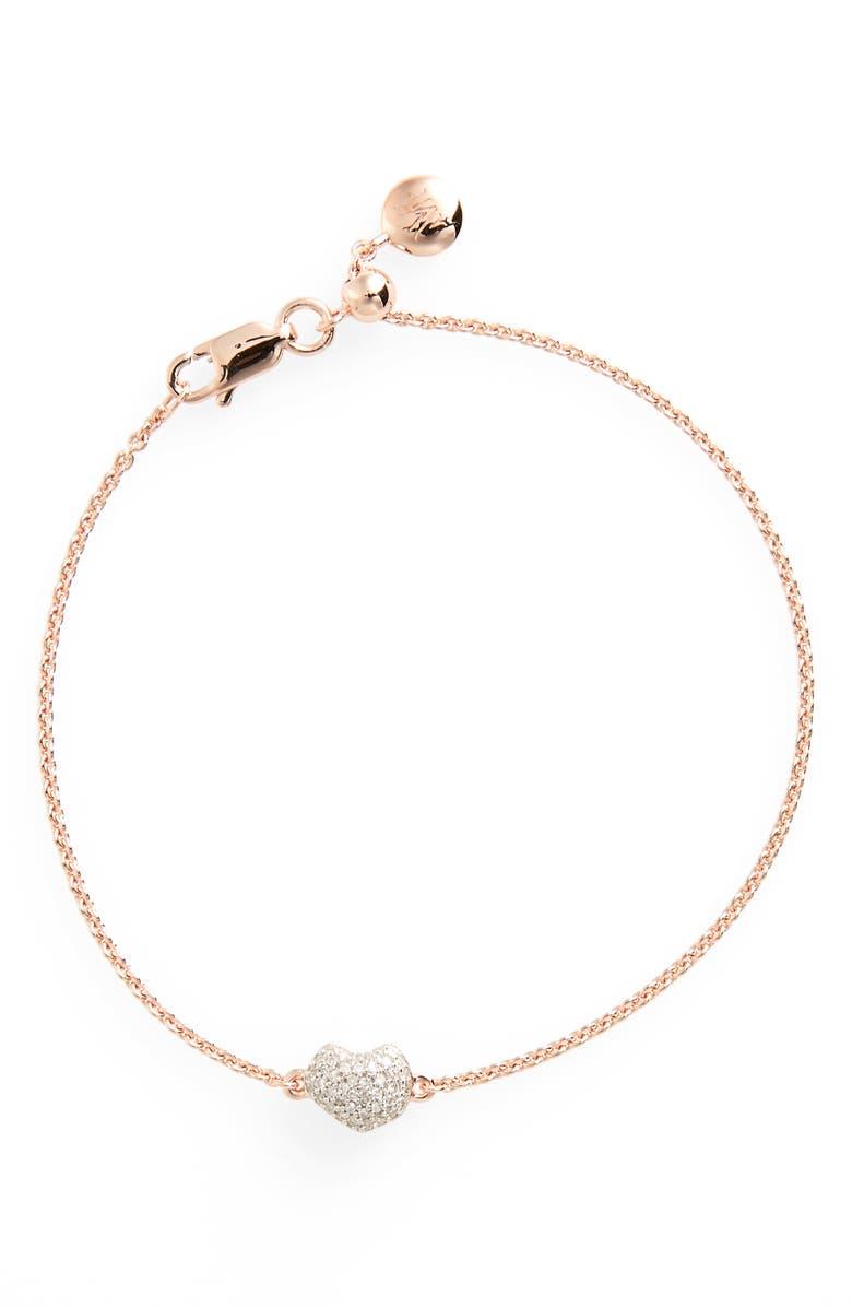 MONICA VINADER Nura Mini Heart Diamond Bracelet, Main, color, ROSE GOLD/ DIAMOND