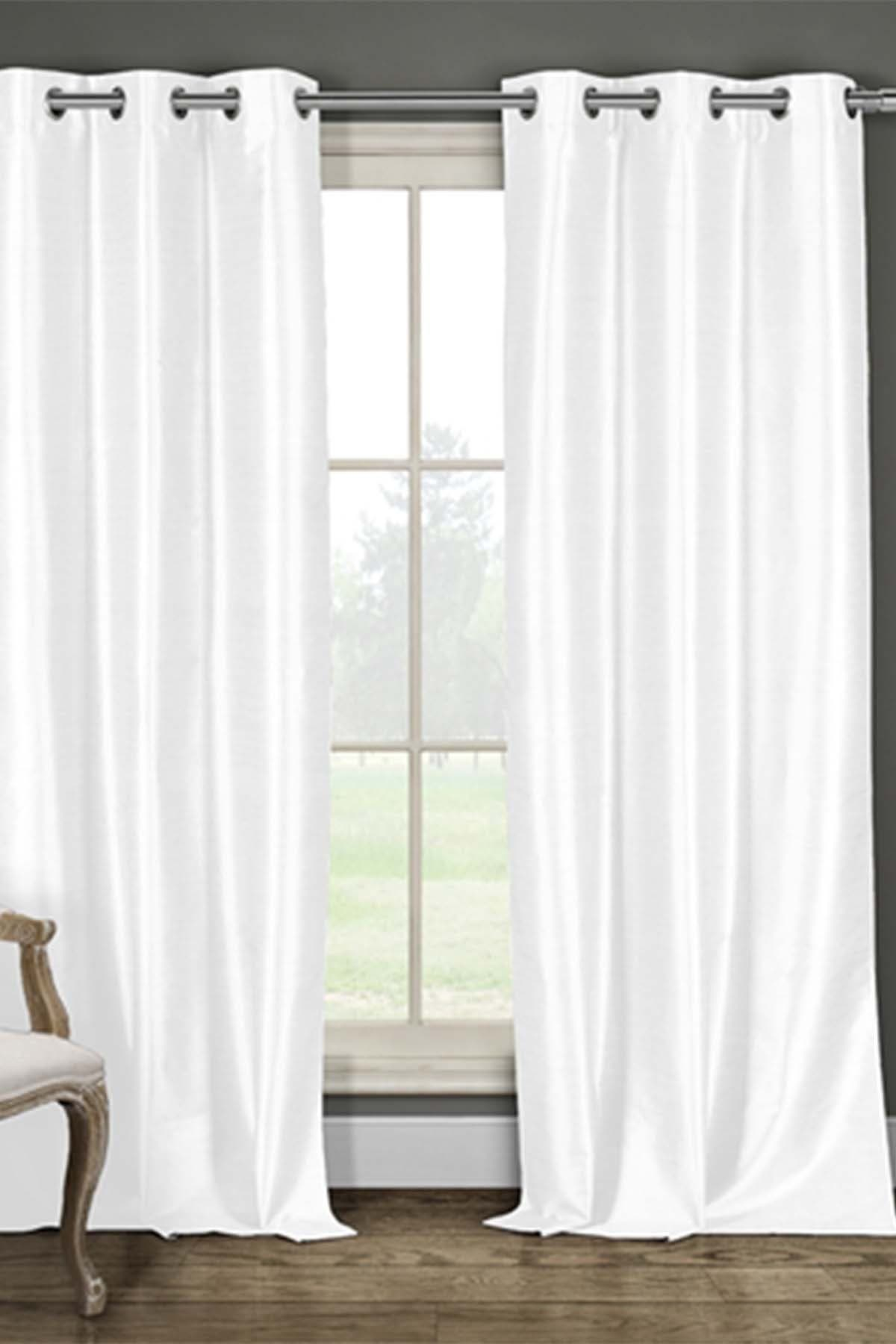 Image of Duck River Textile Daenery's Faux Silk Foamback Grommet Curtains - Set of 2 - White