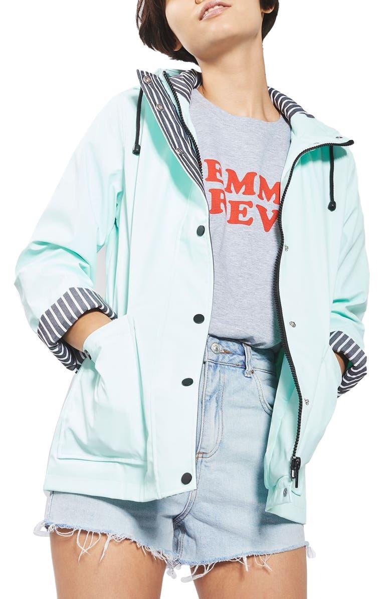 TOPSHOP Ivy Rain Jacket, Main, color, 330