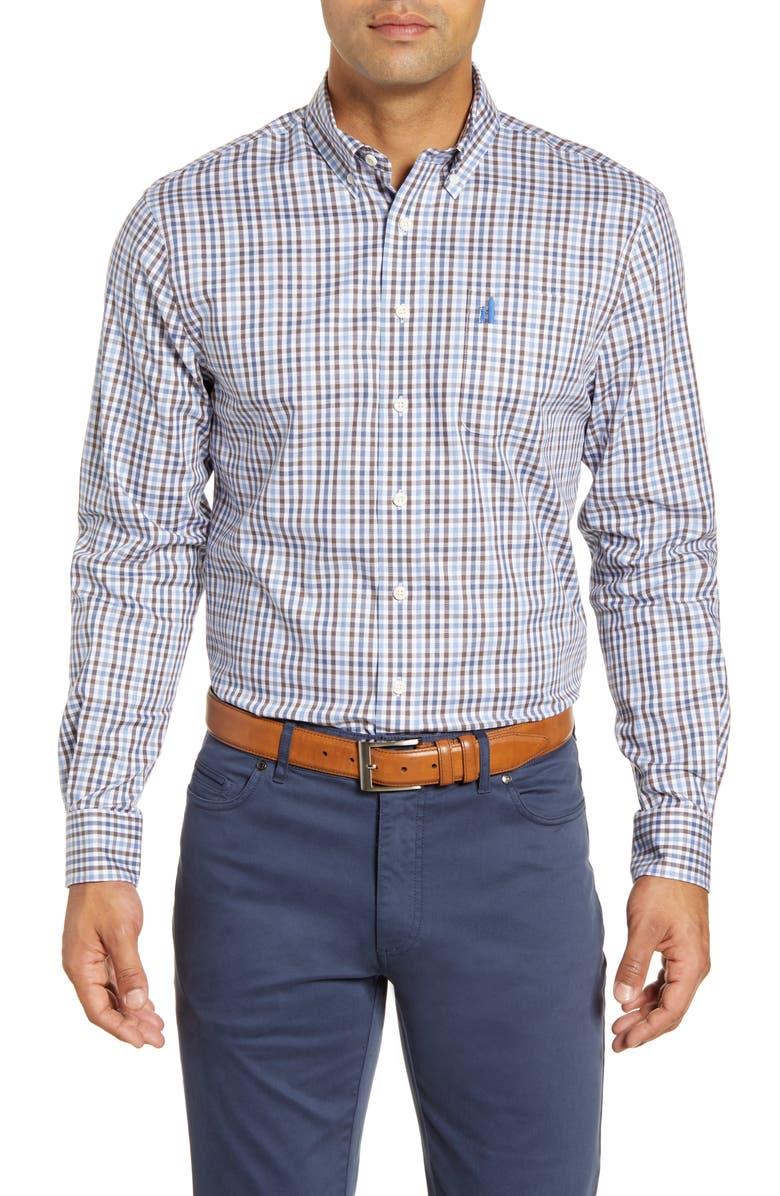 JOHNNIE-O Pratt Classic Fit Check Stretch Cotton Button-Down Sport Shirt, Main, color, 400