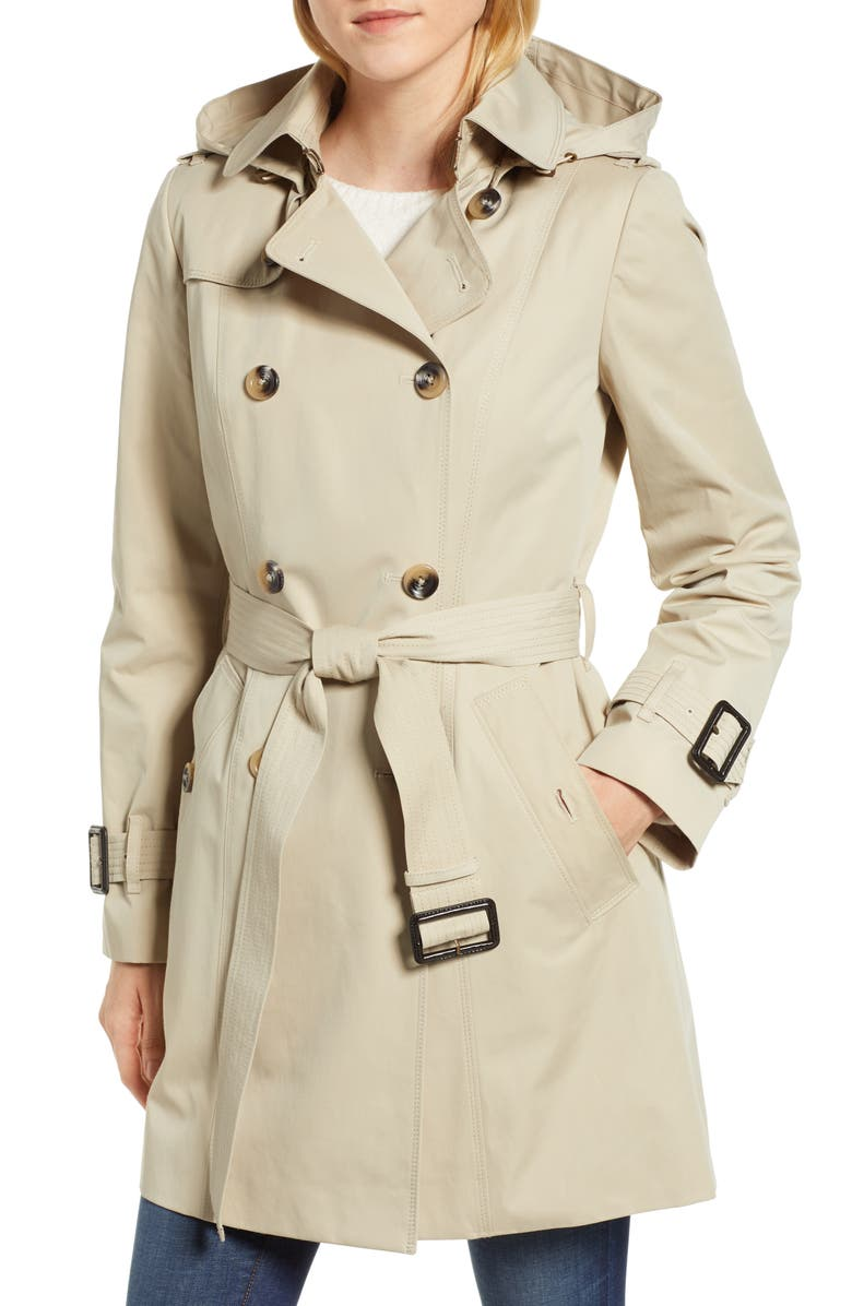 LONDON FOG Trench Coat with Detachable Liner & Hood, Main, color, STONE