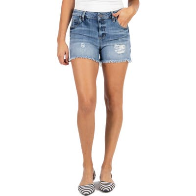 Kut From The Kloth Gidget High Waist Frayed Denim Cutoff Shorts, Blue