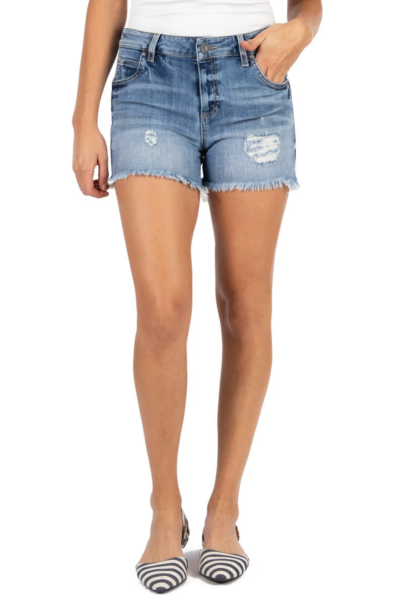KUT FROM THE KLOTH Gidget High Waist Frayed Denim Cutoff Shorts, Main, color, 400