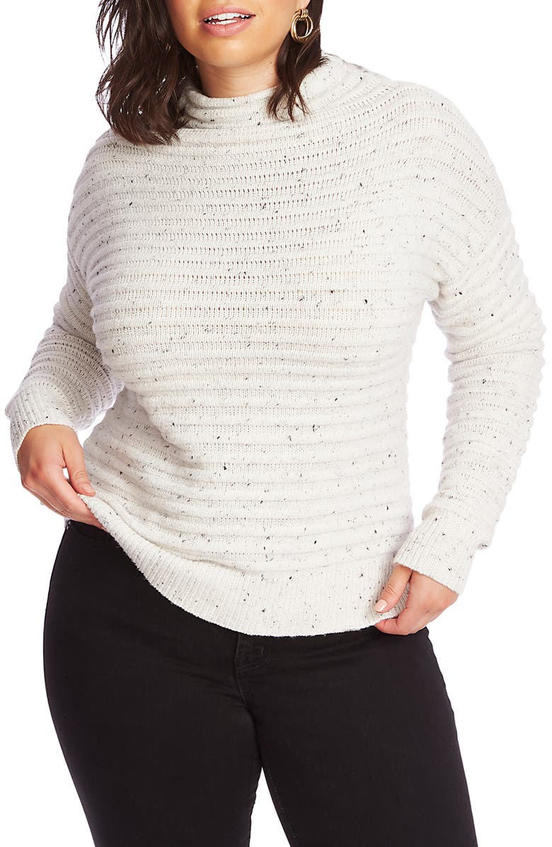 COURT & ROWE Speckled Ottoman Turtleneck Sweater, Main, color, ANTIQUE WHITE