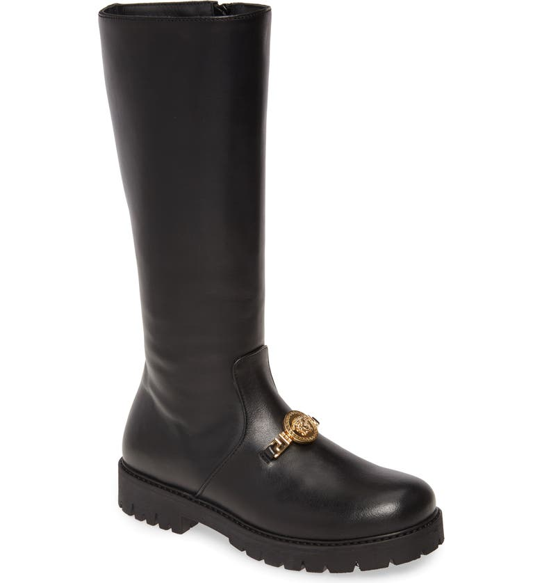 VERSACE Medusa Head Platform Knee High Boot, Main, color, BLACK