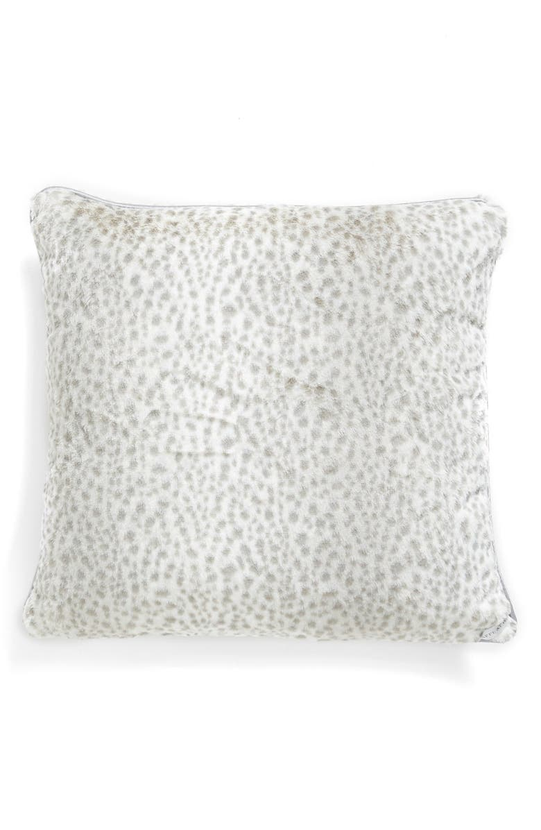 GIRAFFE AT HOME 'Snow Leopard' Faux Fur Throw Pillow, Main, color, SILVER