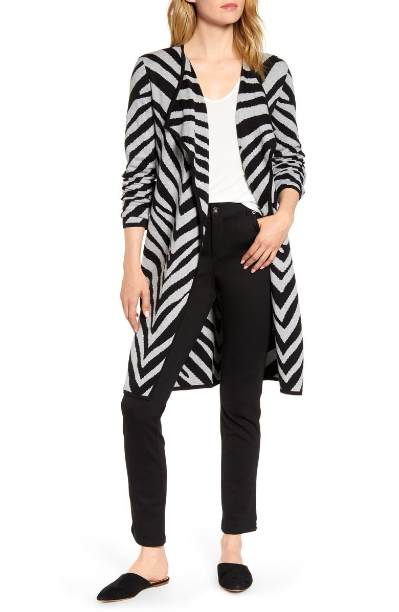 VINCE CAMUTO Zebra Stripe Drape Lapel Jacquard Cardigan, Main, color, 082
