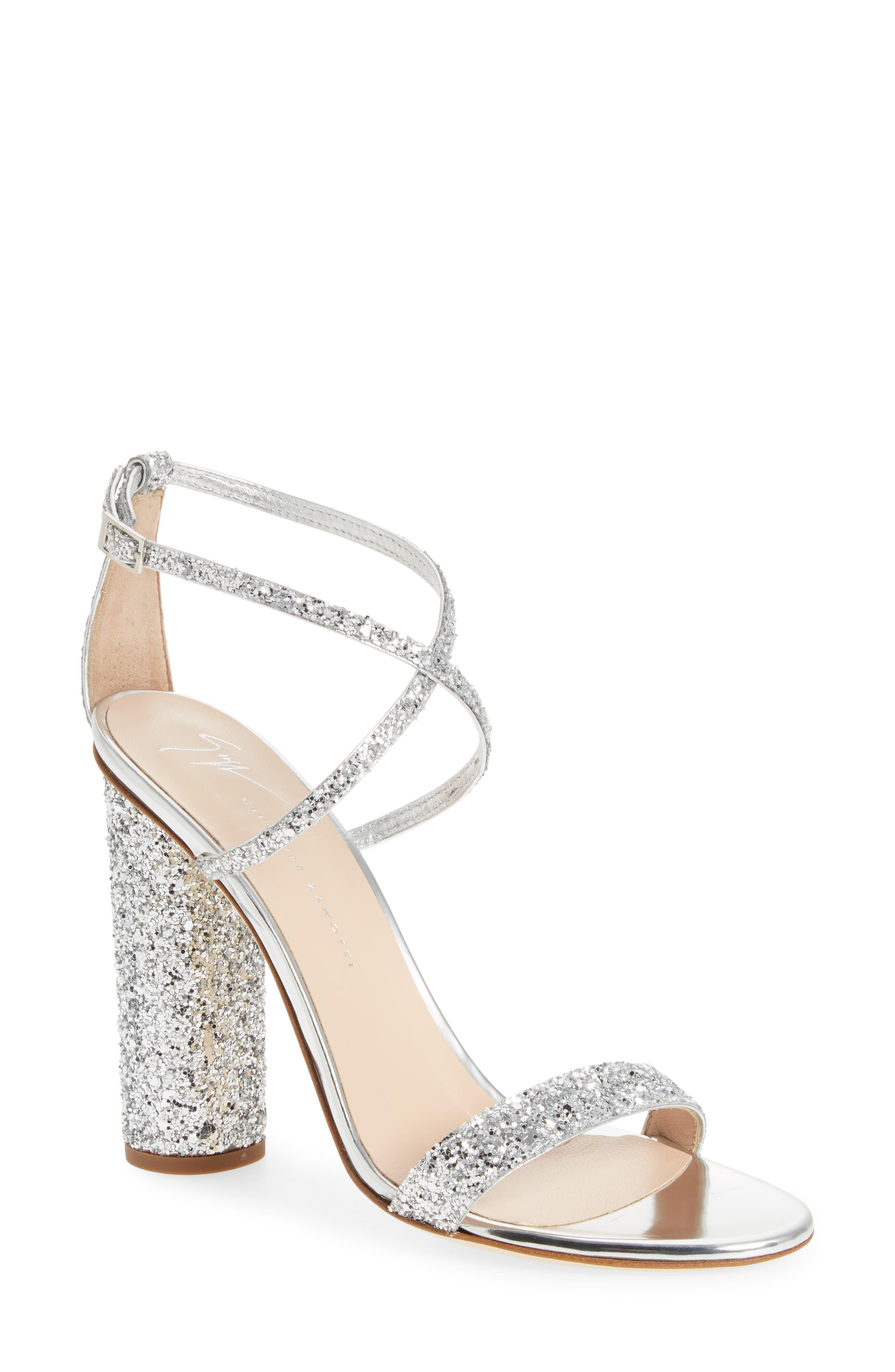 Glitter Heel Sandal, Main, color, SILVER