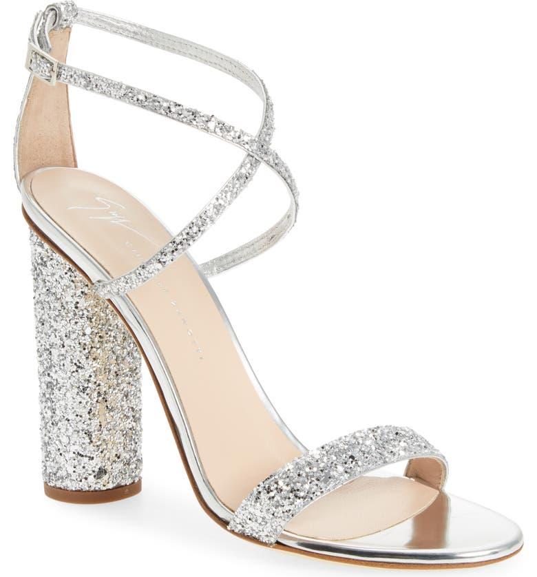 GIUSEPPE ZANOTTI Glitter Heel Sandal, Main, color, 040