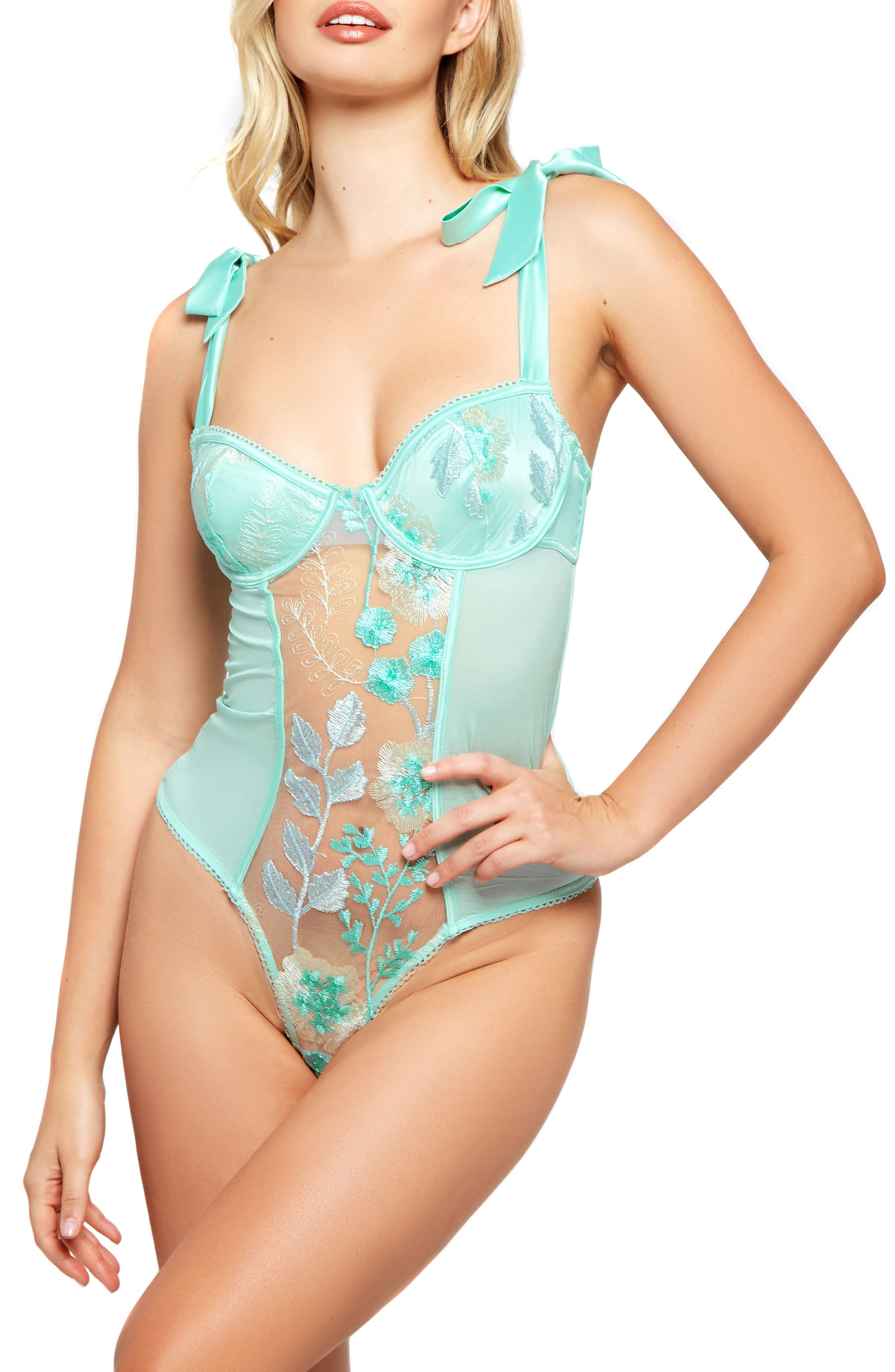 Embroidered Lace Underwire Teddy