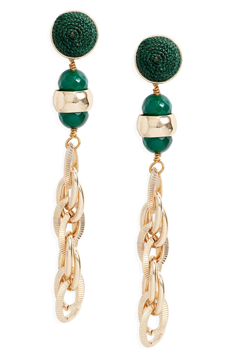 AKOLA Raffia Drop Earrings, Main, color, HUNTER