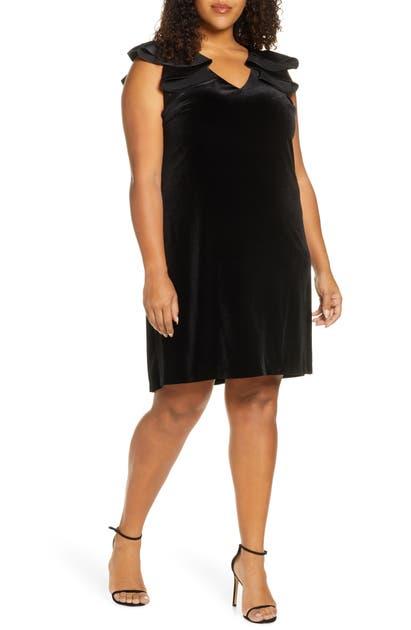 Julia Jordan Dresses RUFFLE SHOULDER VELVET DRESS