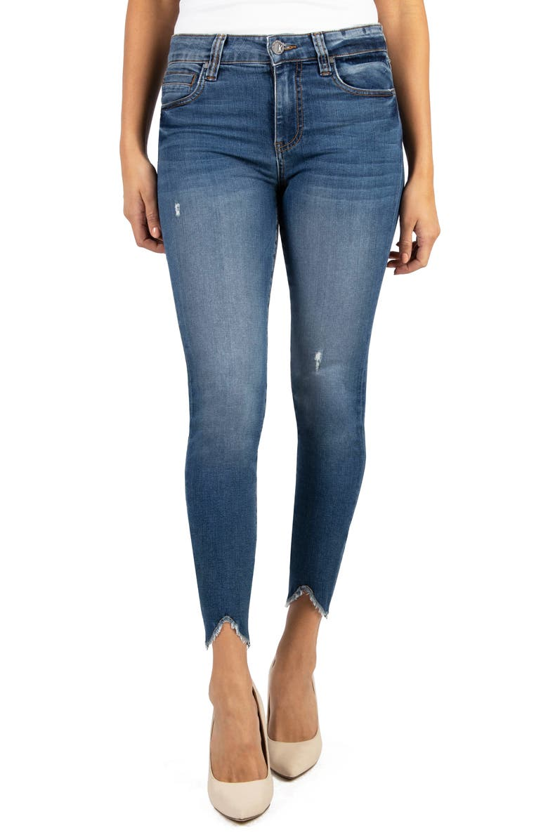 KUT FROM THE KLOTH Connie High Waist Bitten Hem Ankle Skinny Jeans, Main, color, ABOARD