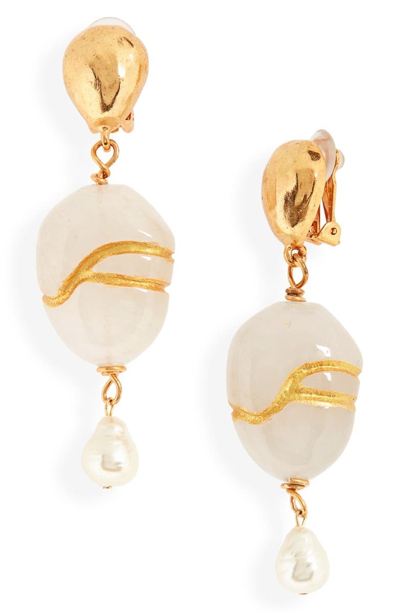 OSCAR DE LA RENTA Kintsugi Stone & Freshwater Pearl Drop Earrings, Main, color, CLEAR QUARTZ