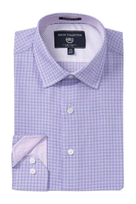 Image of Report Collection Textured Check Modern Fit Dress Shirt