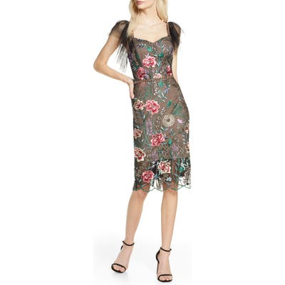 Bronx And Banco Melia Floral Beaded & Embroidered Cocktail Dress, Black