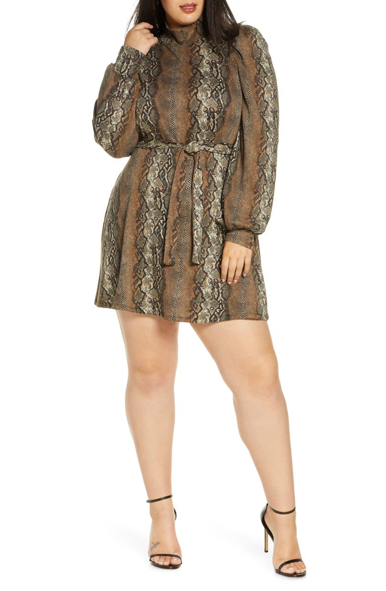 LEITH Mock Neck Long Sleeve Minidress, Main, color, TAN TAUPE SNAKESKIN