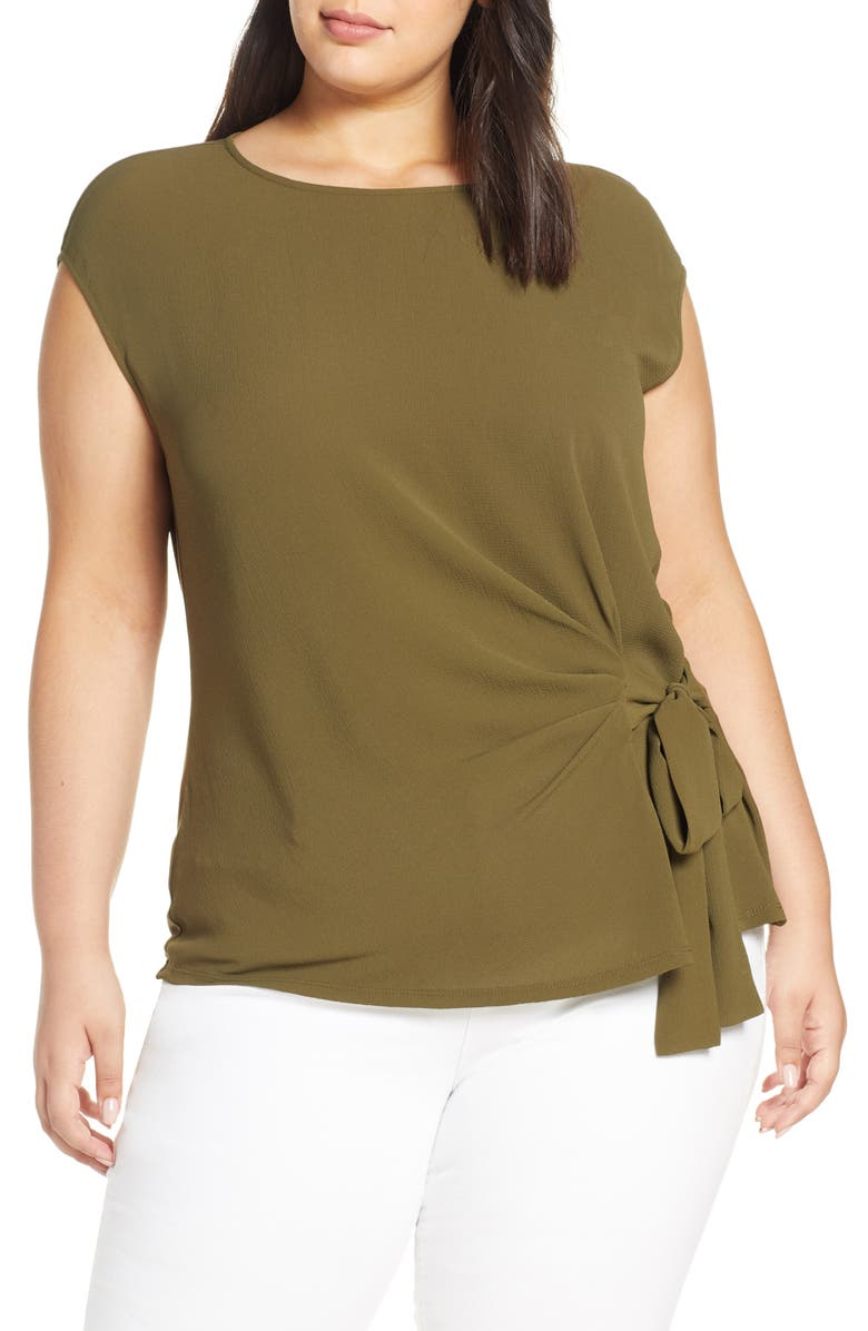 VINCE CAMUTO Mixed Media Side Tie Top, Main, color, GREEN OASIS