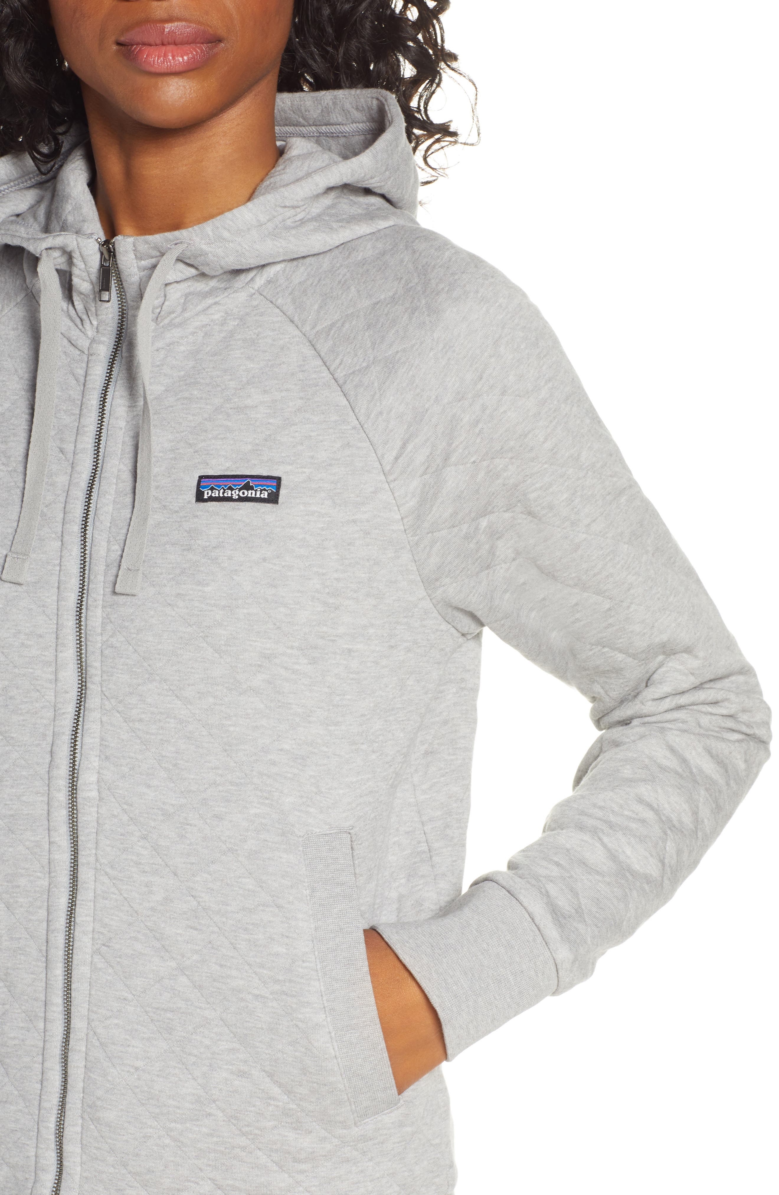 ,                             Organic Cotton Blend Quilted Hoodie,                             Alternate thumbnail 5, color,                             DFTG DRIFTER GREY