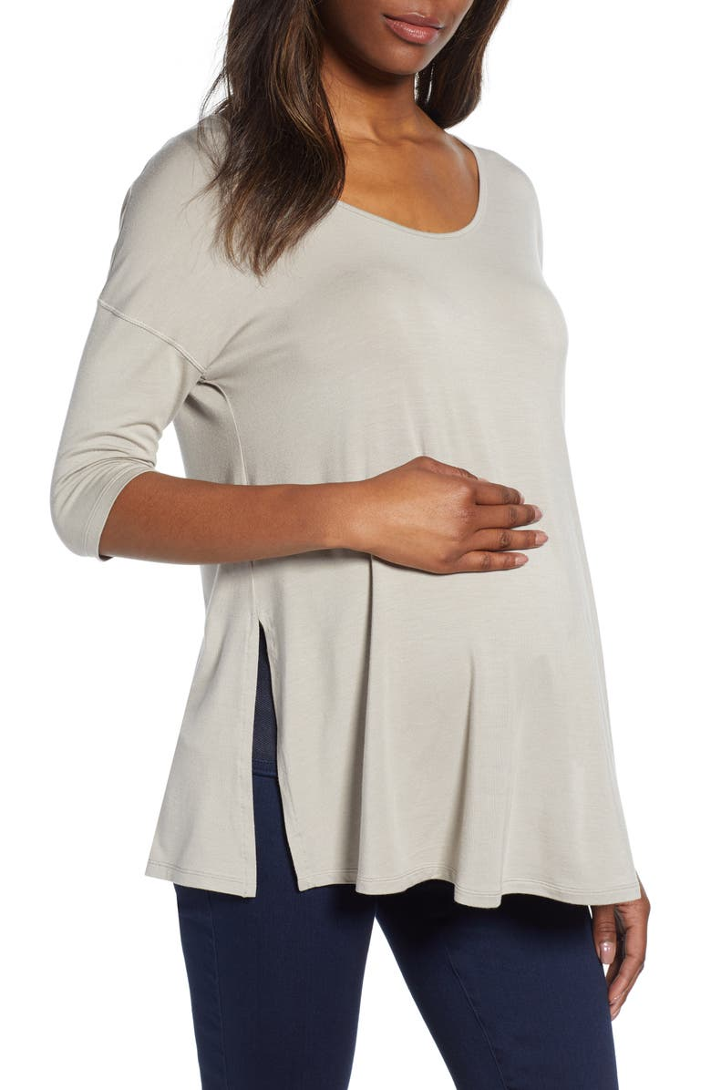 ISABELLA OLIVER Maternity Yoga Top, Main, color, ASH GREY
