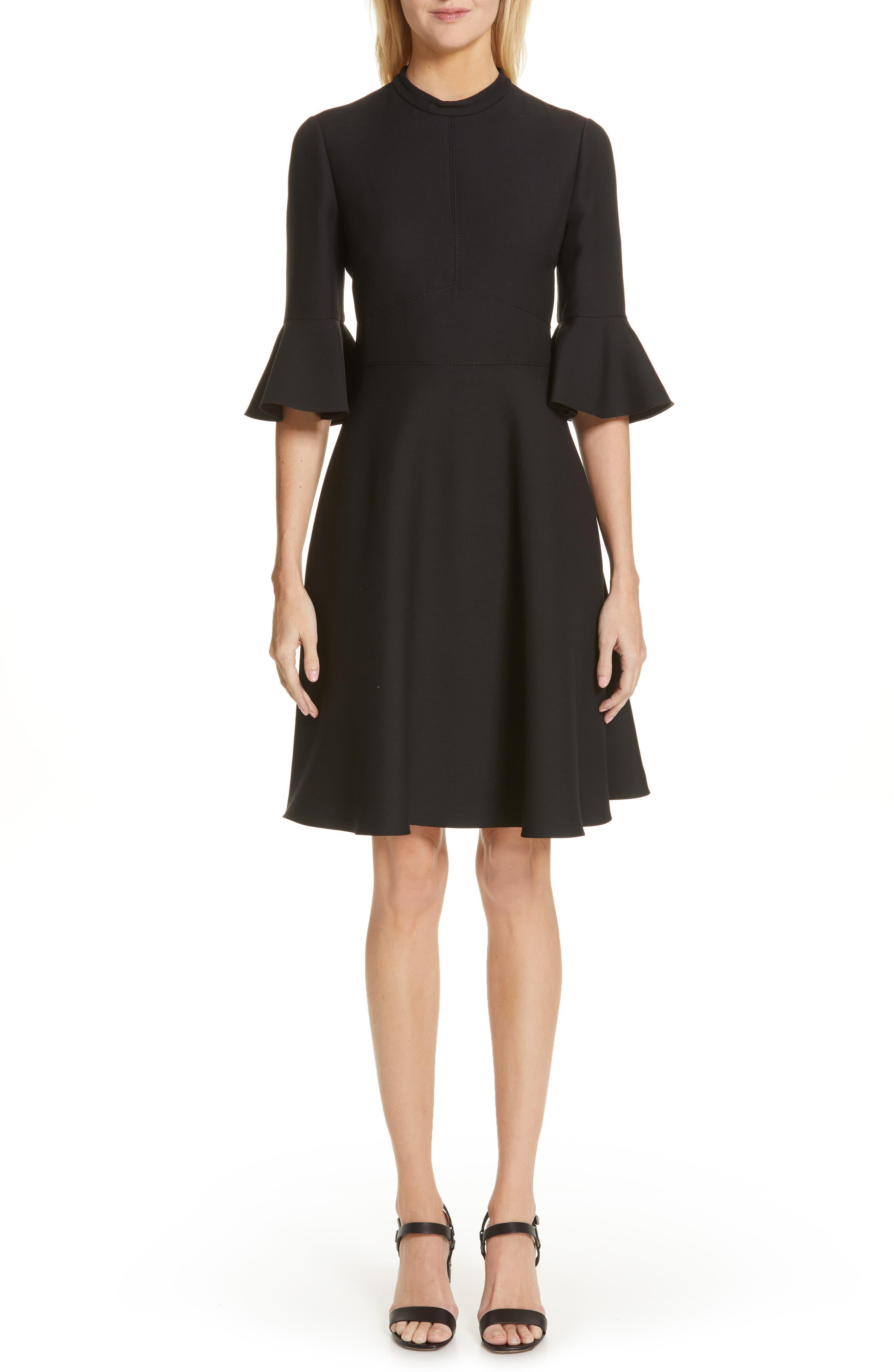 Valentino Ruffle Sleeve Crepe Dress, Black