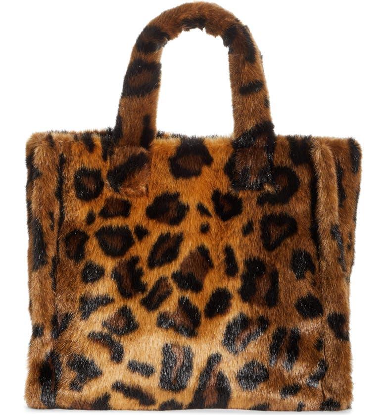 STAND STUDIO Medium Lolita Leopard Print Faux Fur Tote, Main, color, 200