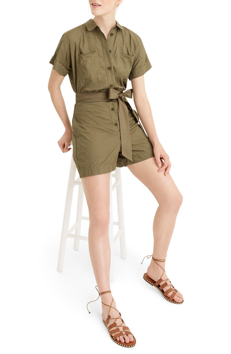 J.CREW Button-Up Short Romper, Main, color, FROSTY OLIVE