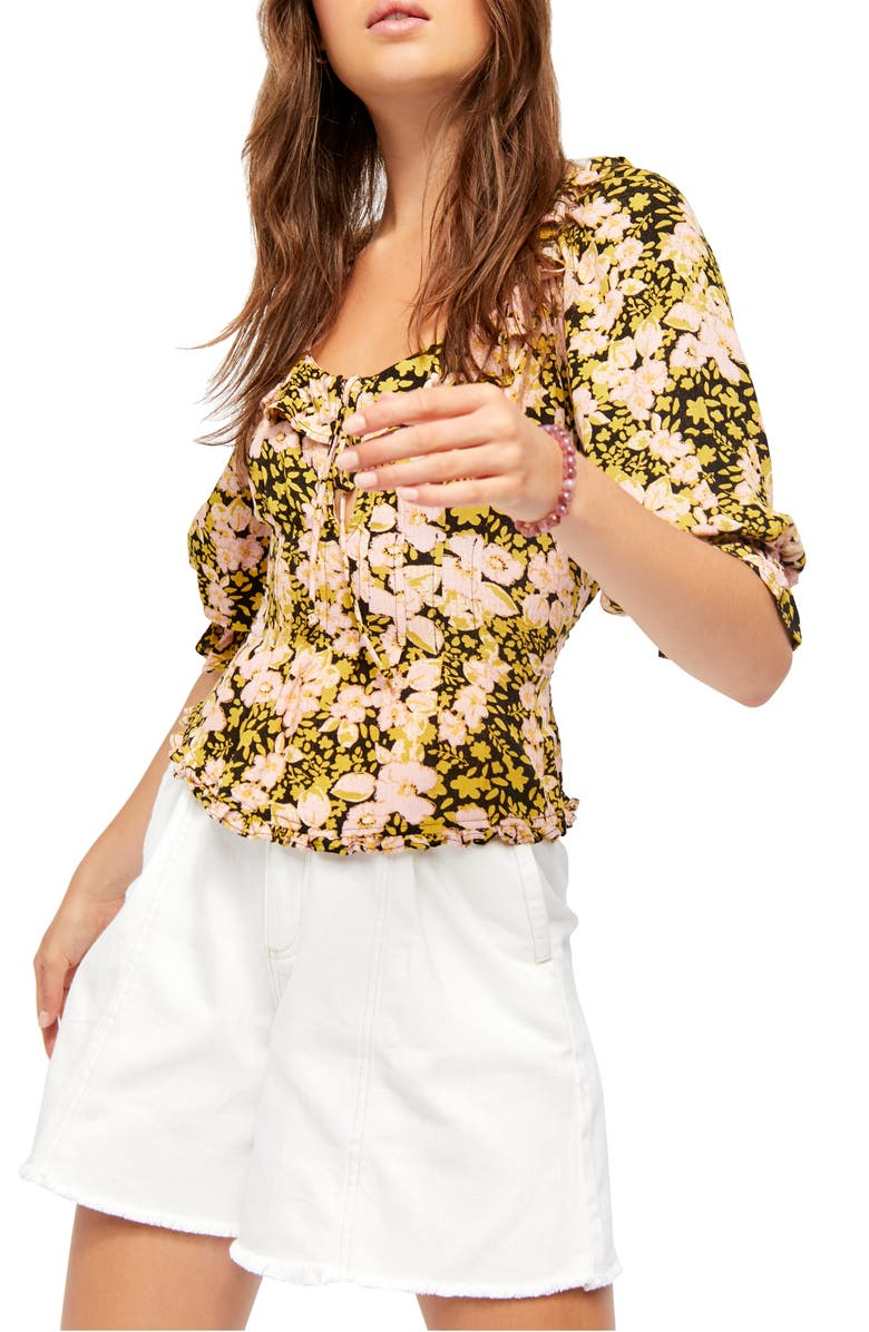FREE PEOPLE Sweet Memories Floral Fitted Blouse, Main, color, 001