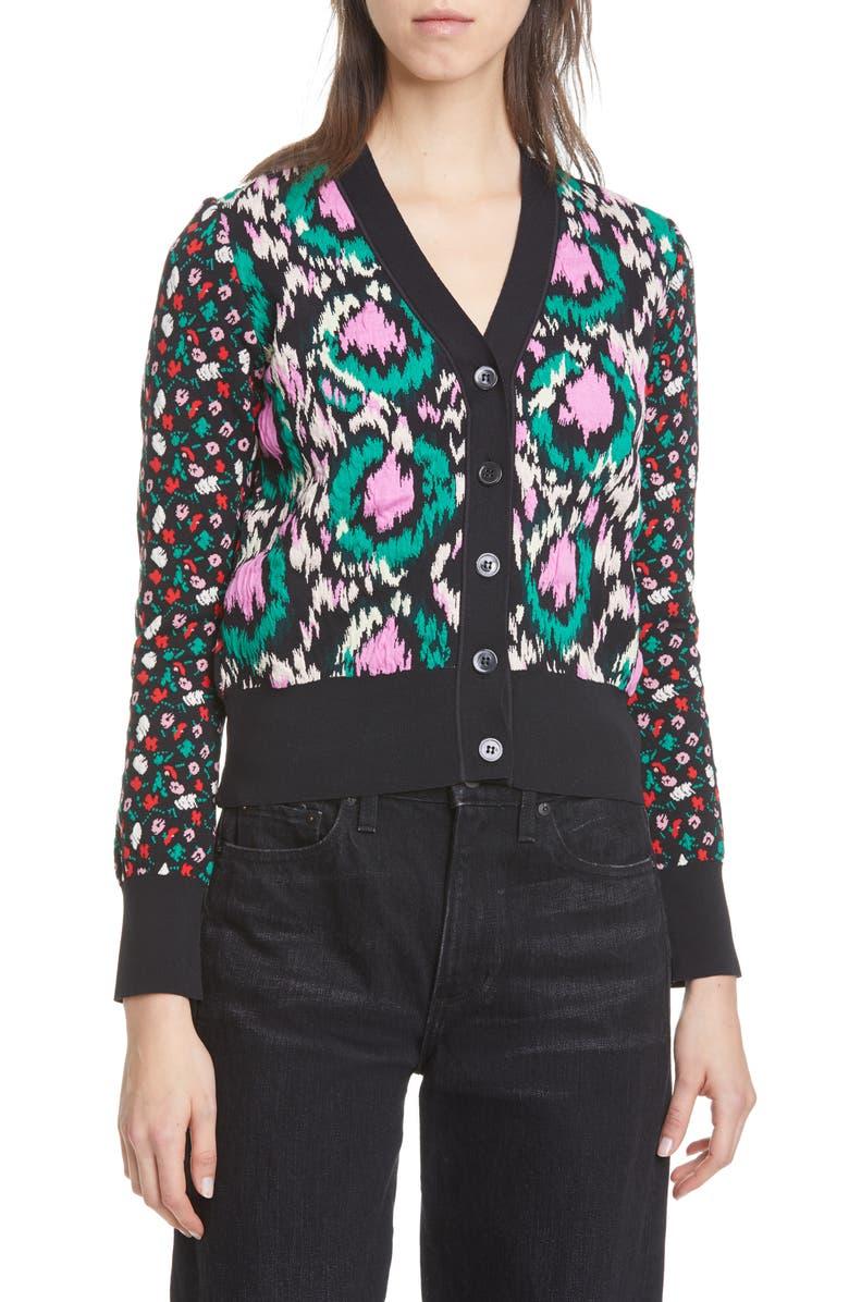 MARNI Mixed Floral Jacquard Cardigan, Main, color, BLACK