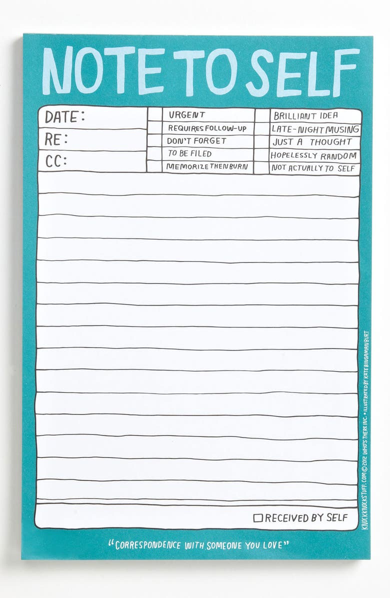 KNOCK KNOCK 'Note to Self' Notepad, Main, color, 400
