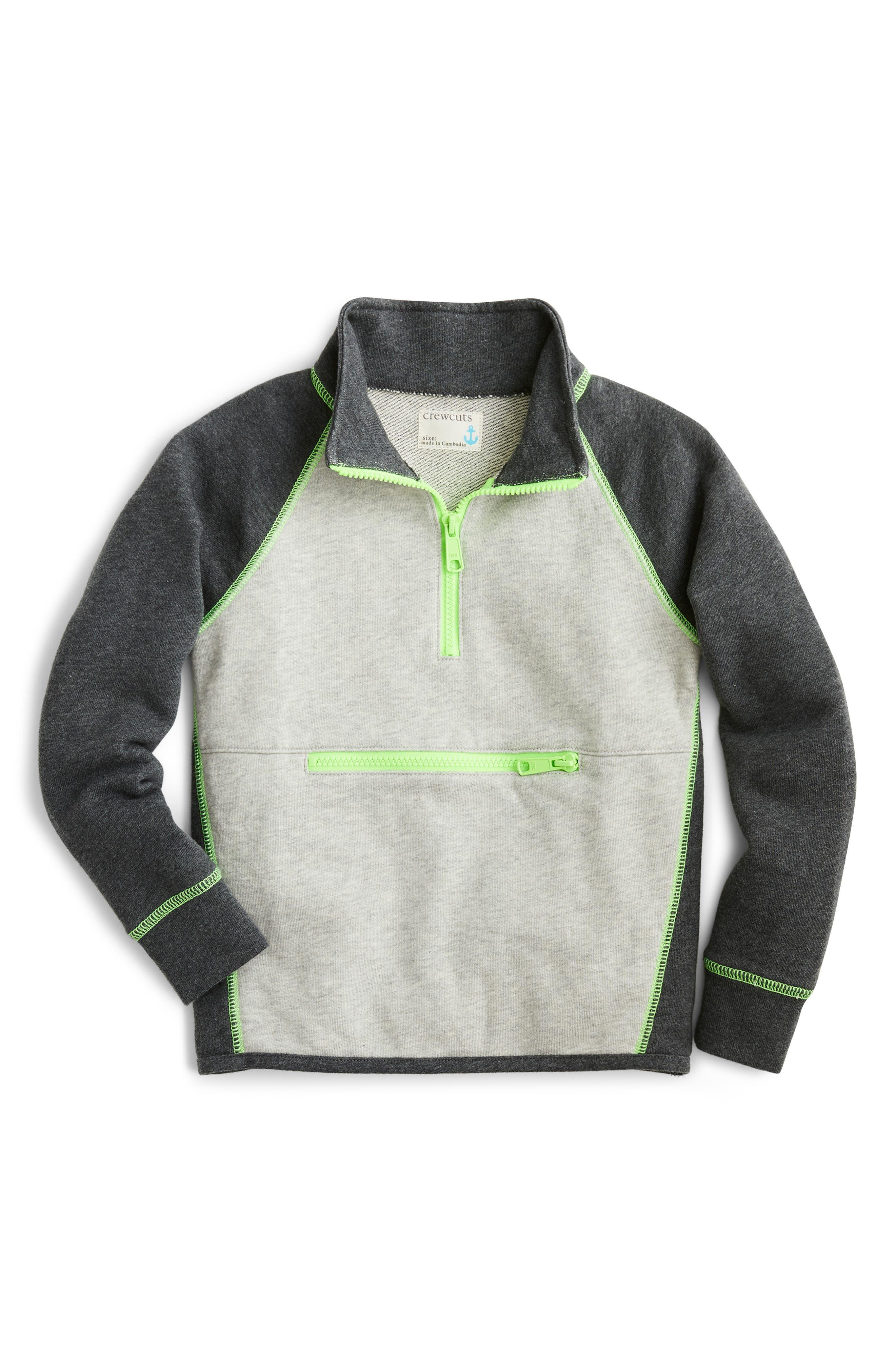 Boys Crewcuts By Jcrew Colorblock Half Zip Sweatshirt Size 16  Grey