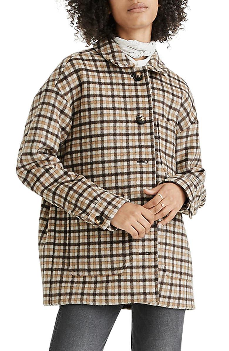 MADEWELL Kenwright Plaid Jacket, Main, color, KENSINGTON CHECK DARK COFFEE