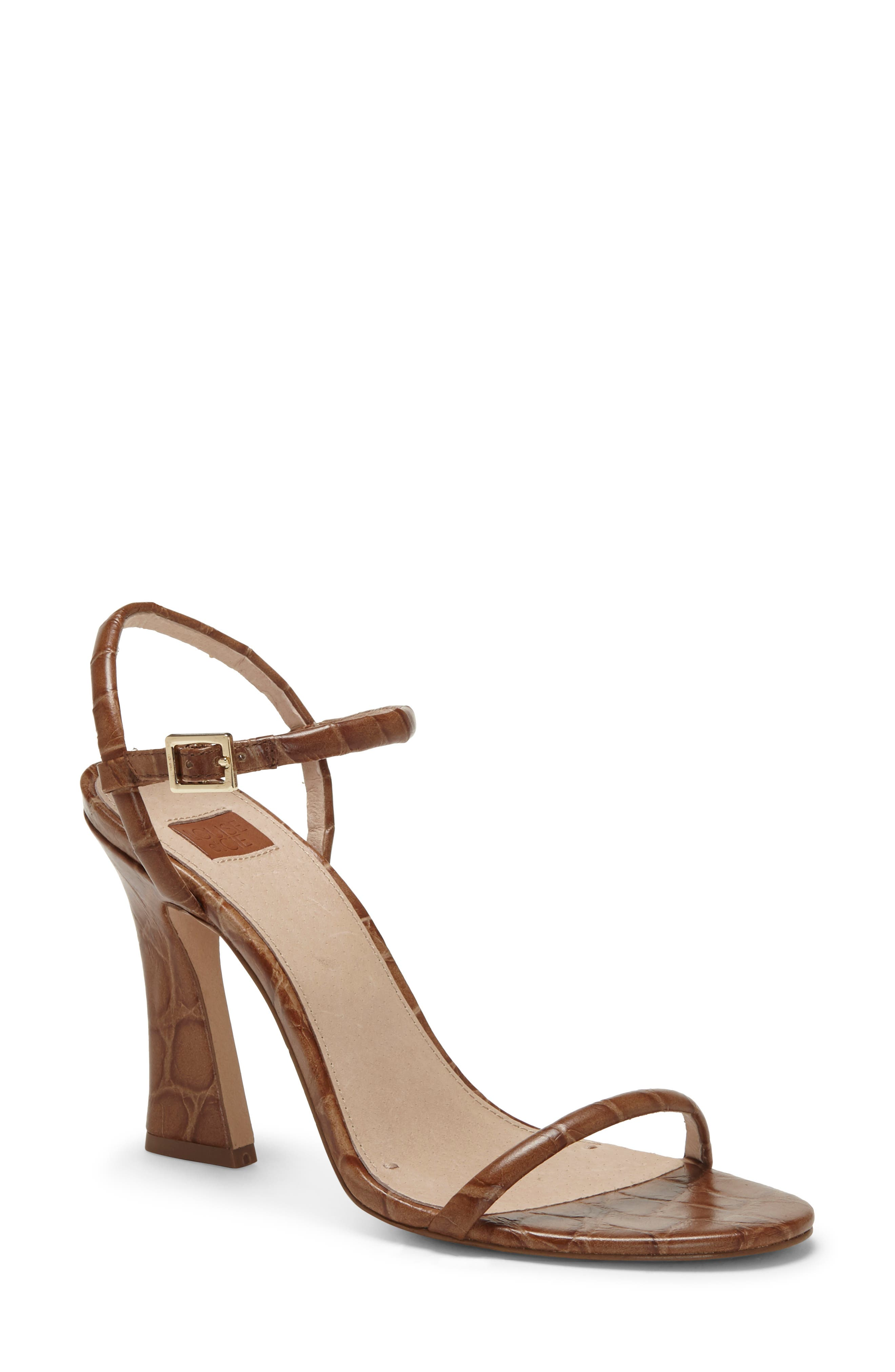 A slightly flared heel adds a hint of retro attitude to a contemporary-chic sandal topped with slim, minimalist straps. Style Name: Louise Et Cie Isandro Ankle Strap Sandal (Women). Style Number: 6017213. Available in stores.