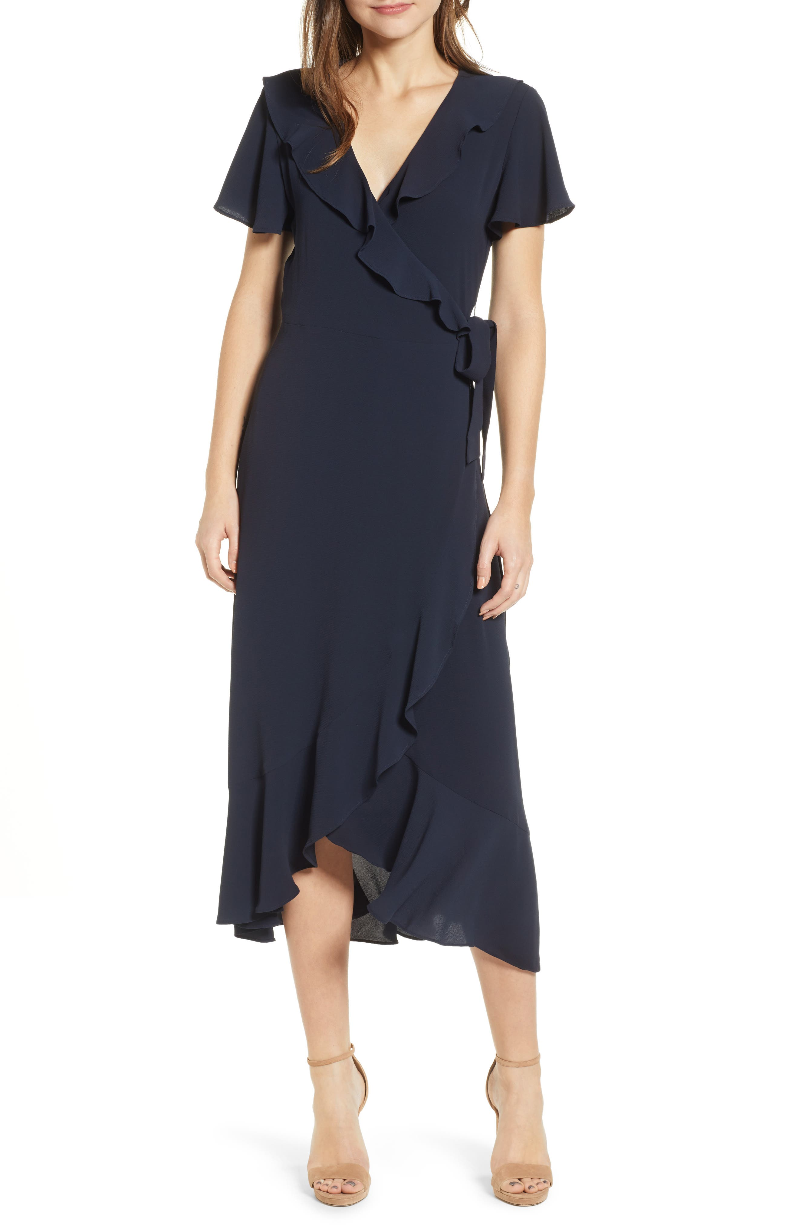 Chelsea28 Ruffle Wrap Dress, Blue