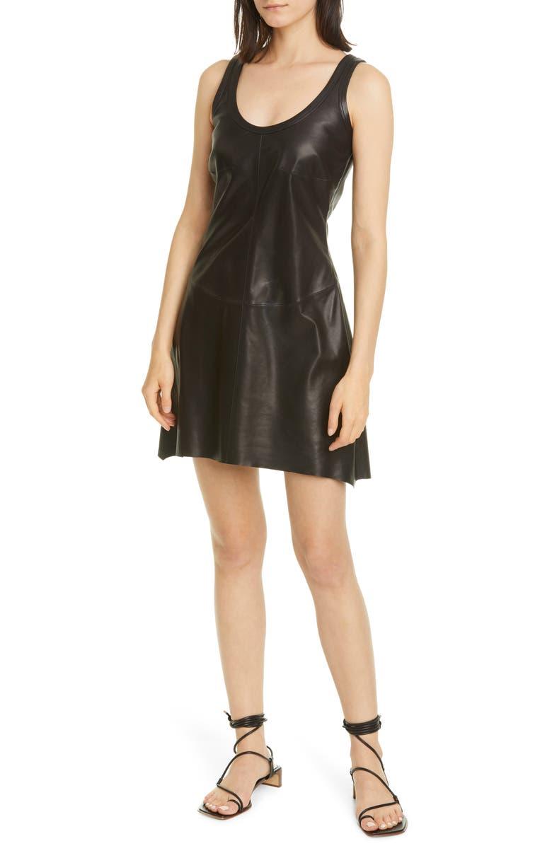 HELMUT LANG Leather Tank Minidress, Main, color, 001