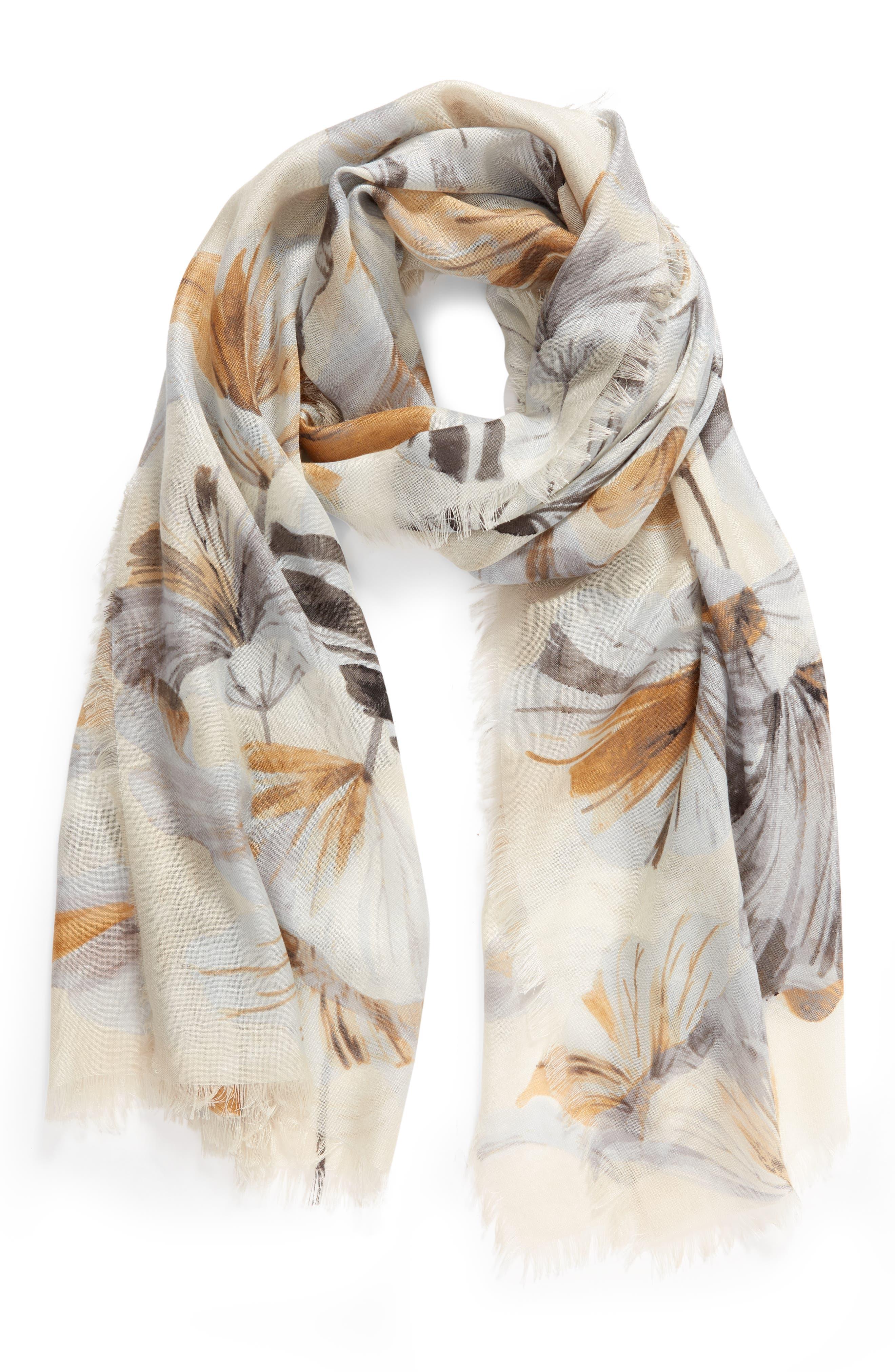 ,                             Eyelash Trim Print Cashmere & Silk Wrap,                             Alternate thumbnail 2, color,                             GREY GARDEN GIRL