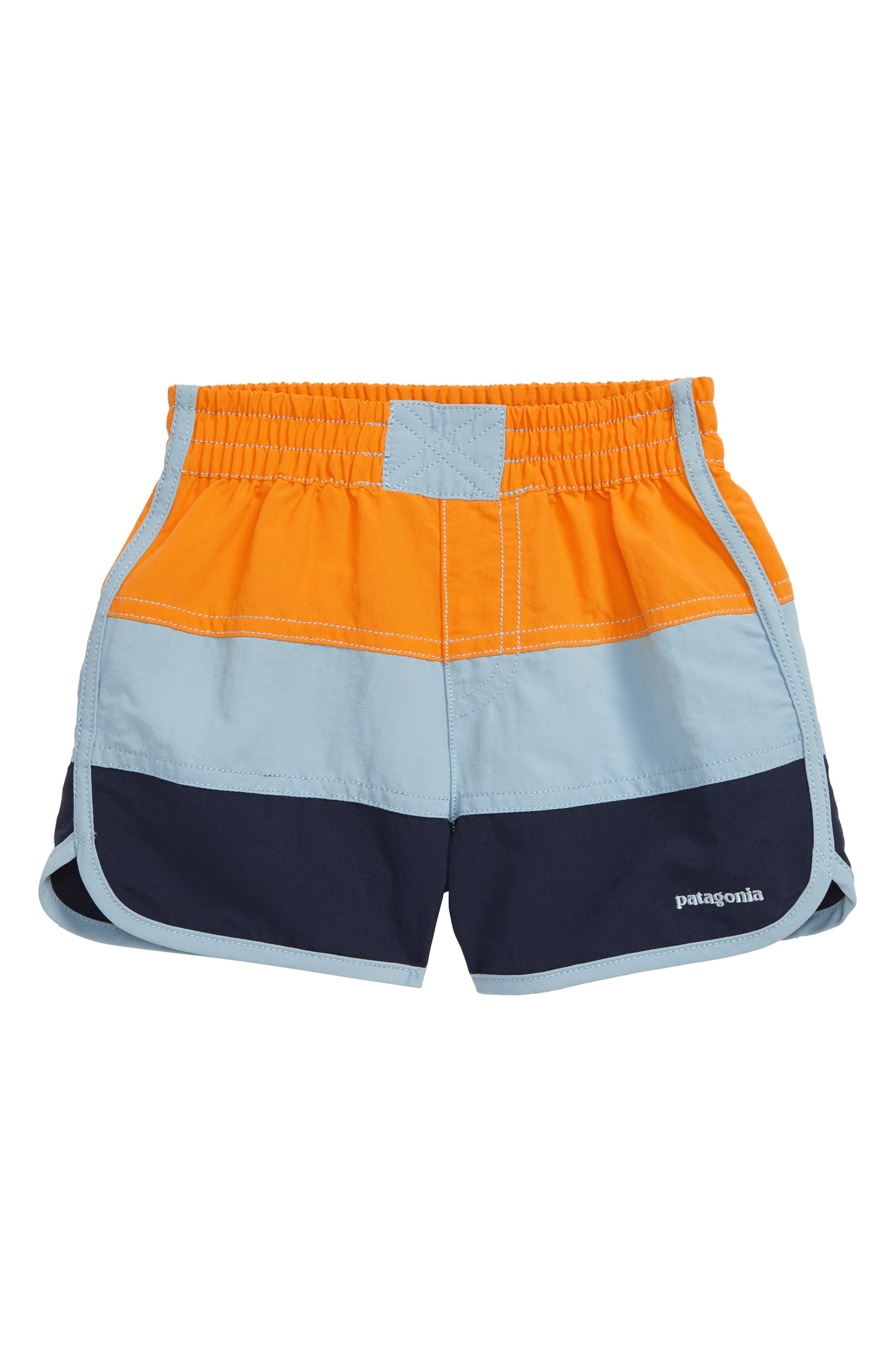 Cool color blocking and quick-dry Supplex nylon make these relaxed elastic-waist shorts a sure poolside favorite. Style Name: Patagonia Board Shorts (Toddler). Style Number: 5519161. Available in stores.