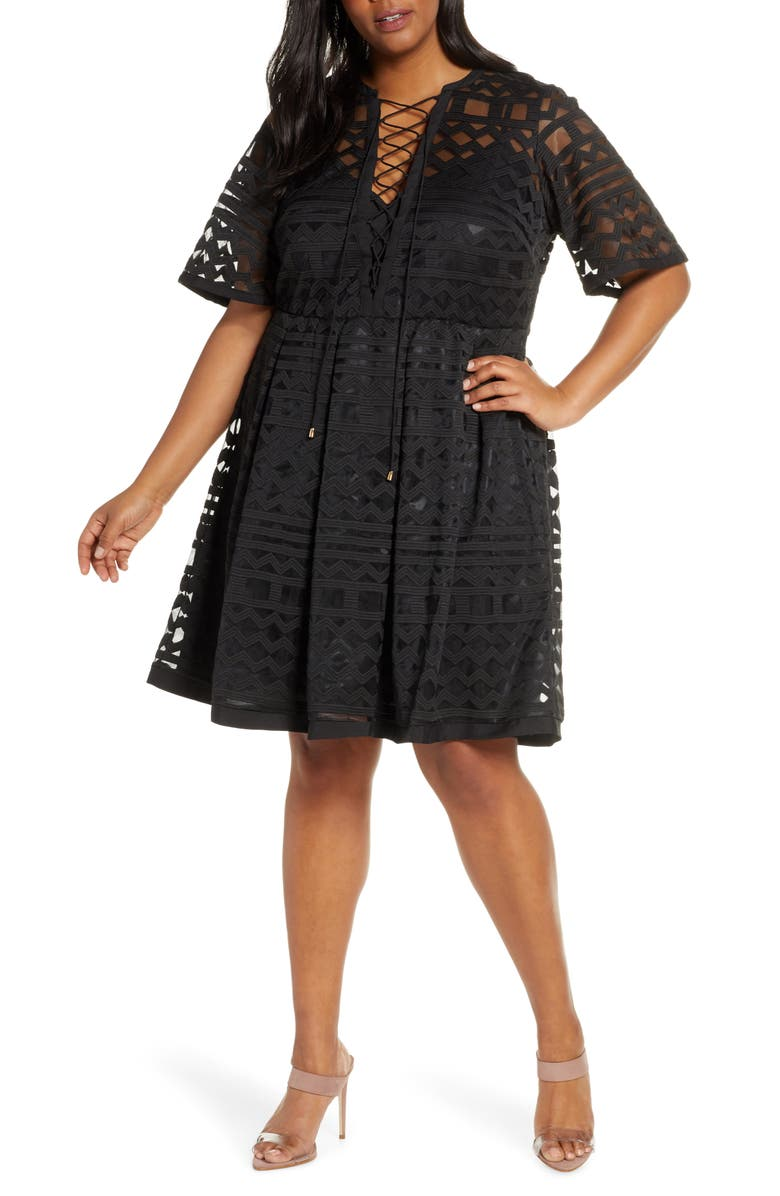 ELOQUII Embroidered Fit & Flare Dress, Main, color, 001