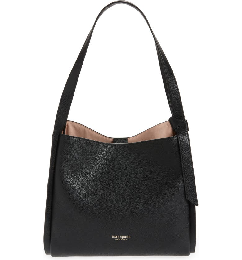 KATE SPADE NEW YORK knott large leather shoulder bag, Main, color, BLACK