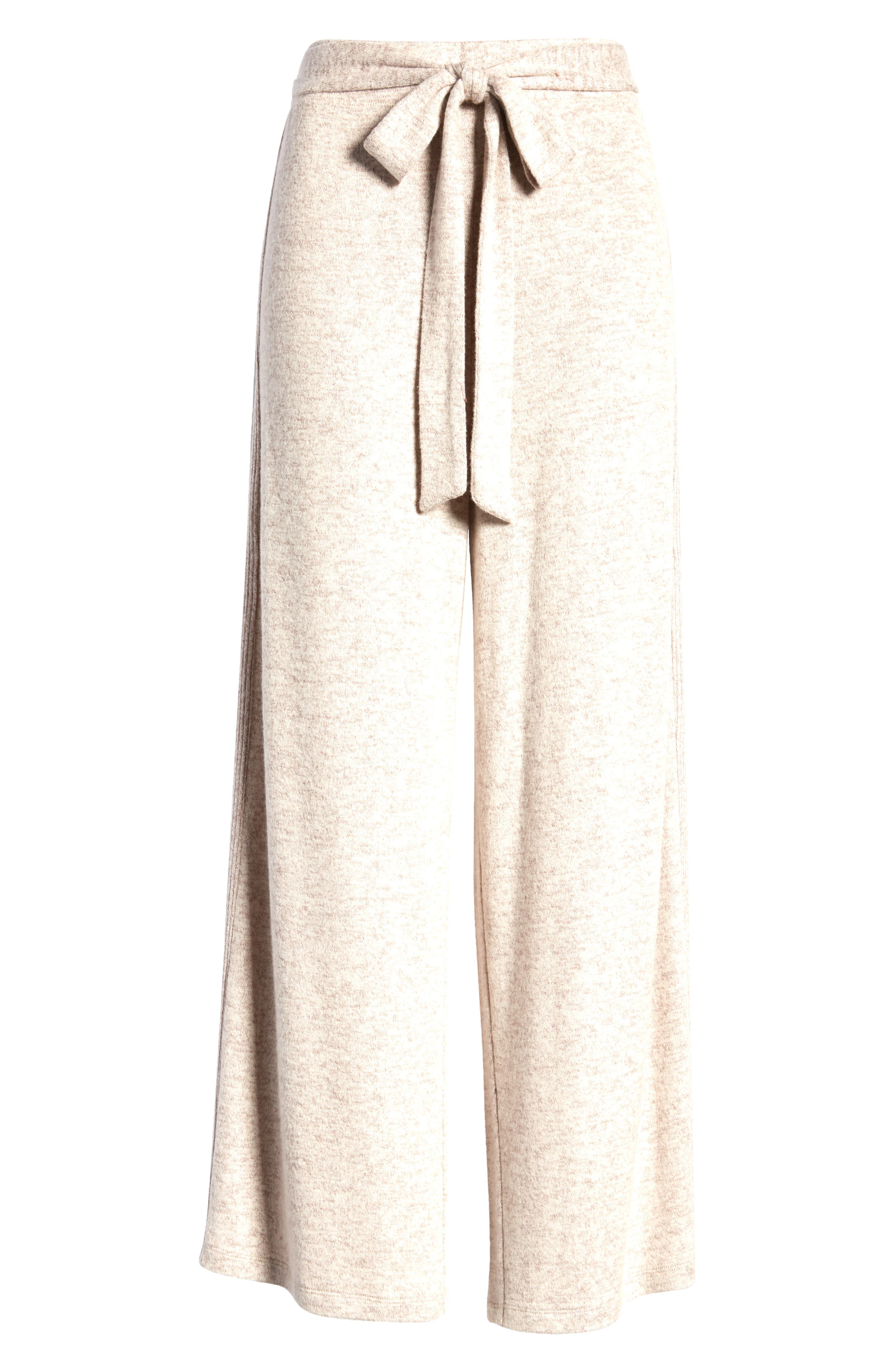 A supersoft, brushed knit brings undeniable comfort to versatile wide-leg pants styled with a tie belt at the waist. Style Name: Bobeau Brushed Knit Wide Leg Pants. Style Number: 6100041. Available in stores.