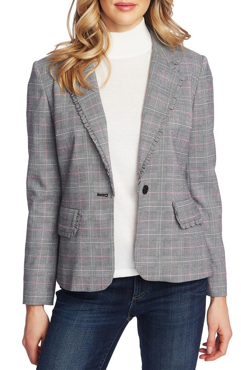 CECE Pop Plaid Ruffle Detail Blazer, Main, color, WILD FUCHSIA
