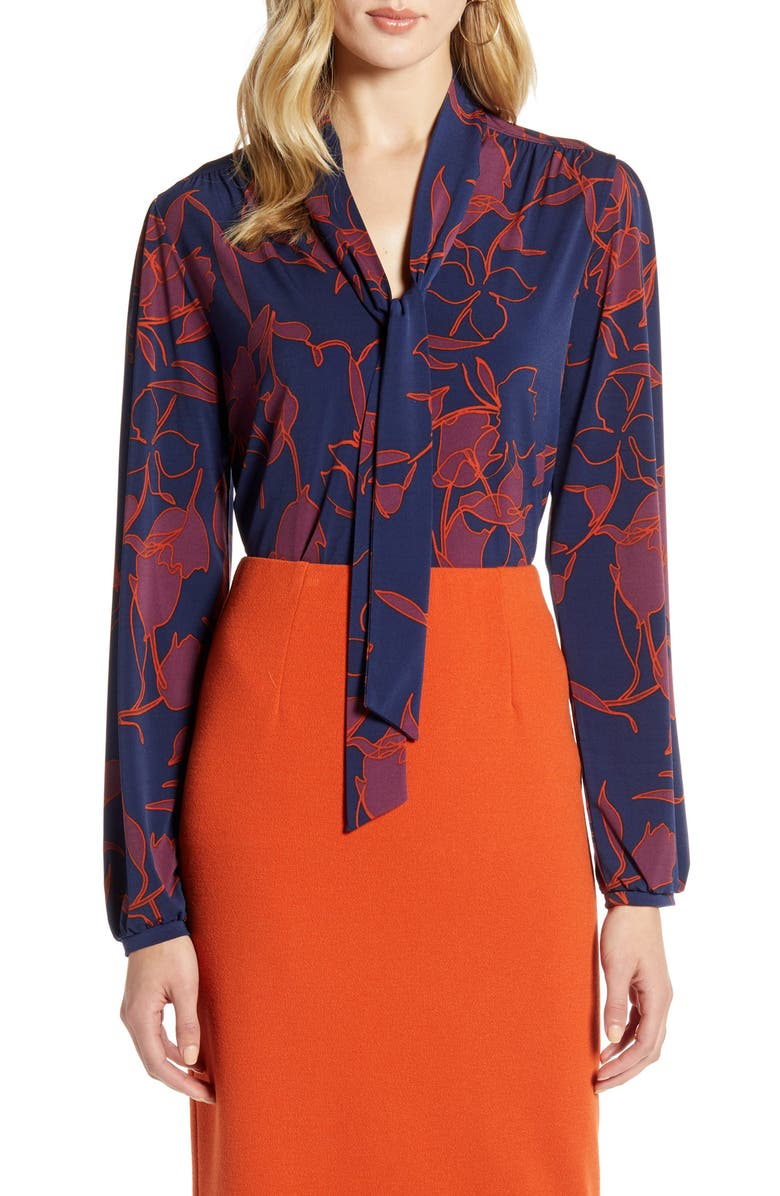 HALOGEN<SUP>®</SUP> Tie Neck Long Sleeve Top, Main, color, NAVY- PURPLE OUTLINE FLORAL
